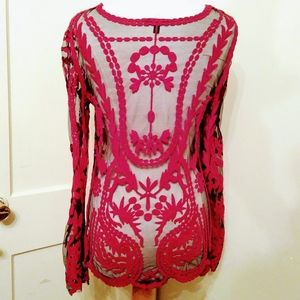 Cupio red sheer lace shirt size L / XL